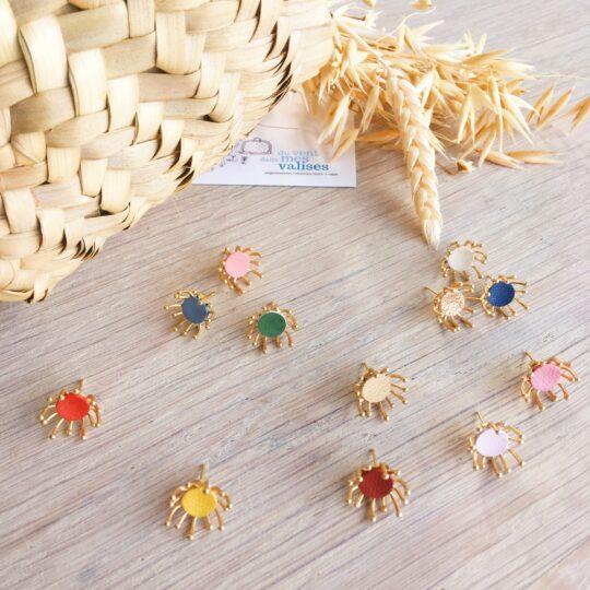 boucles d'oreilles florales aigrettes de pissenlit couleurs moissons dorées made in France - du vent dans mes valises