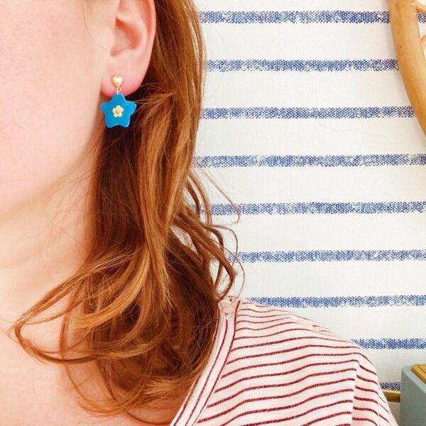 boucles d'oreilles florales les myosotis fabrication artisanale française - du vent dans mes valises