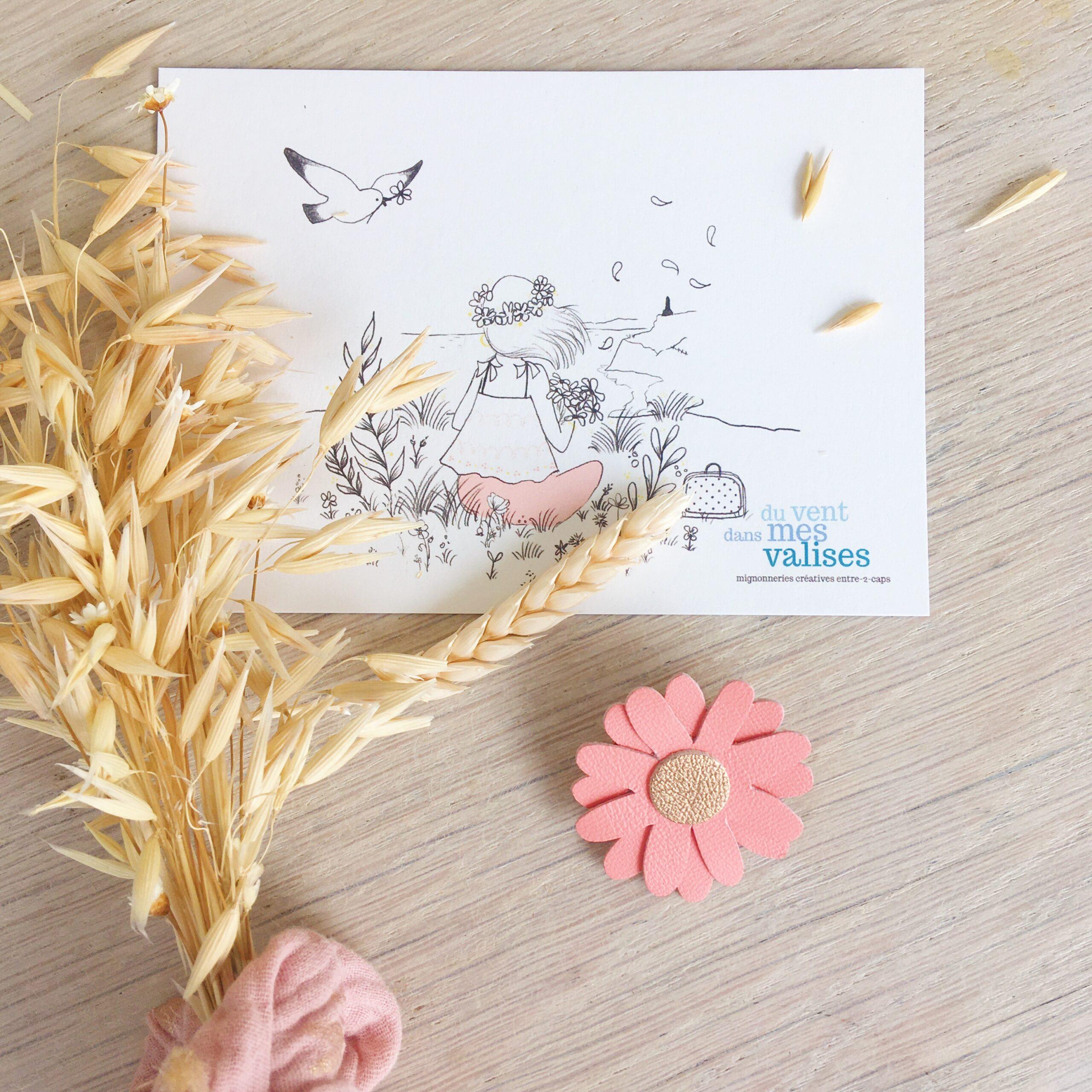 broche fleurie bohème chic marguerite échinacée argile rose en cuir fabrication artisanale française - du vent dans mes valises