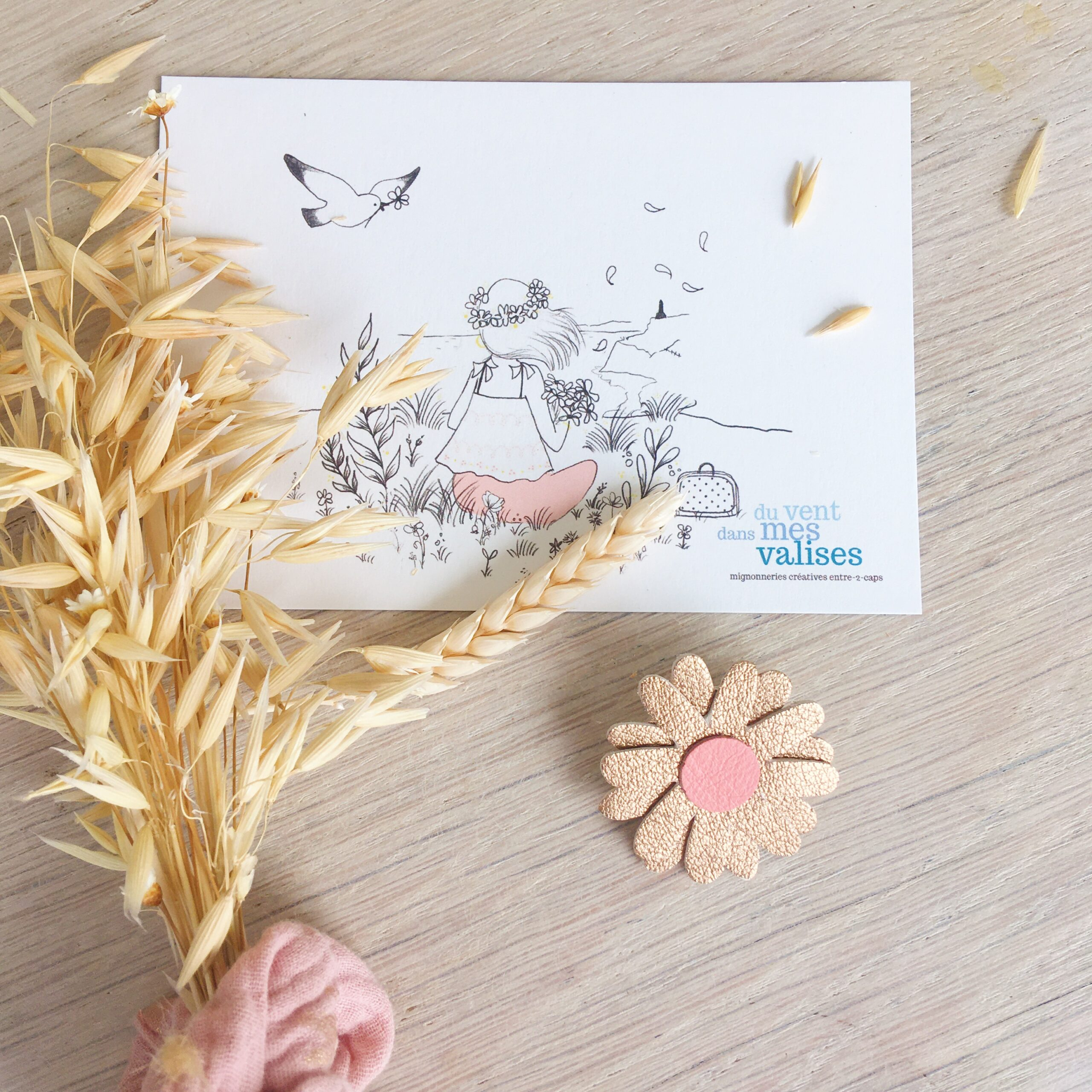 broche florale bohème chic marguerite échinacée cuivré en cuir fabrication artisanale française - du vent dans mes valises
