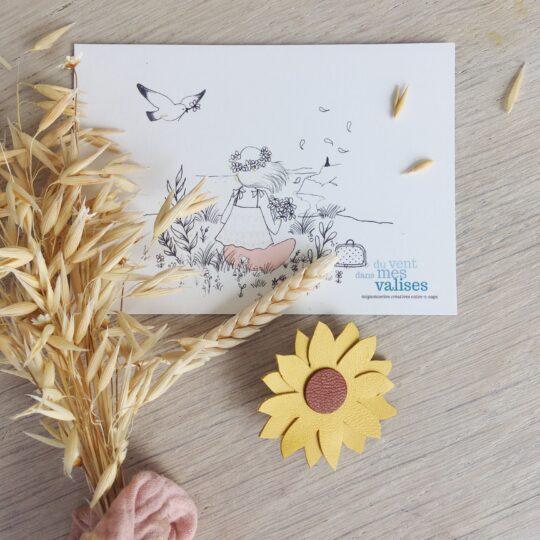 broche-florale-boheme-chic-tournesol-made-in-France-en-cuir-du-vent-dans-mes-valises