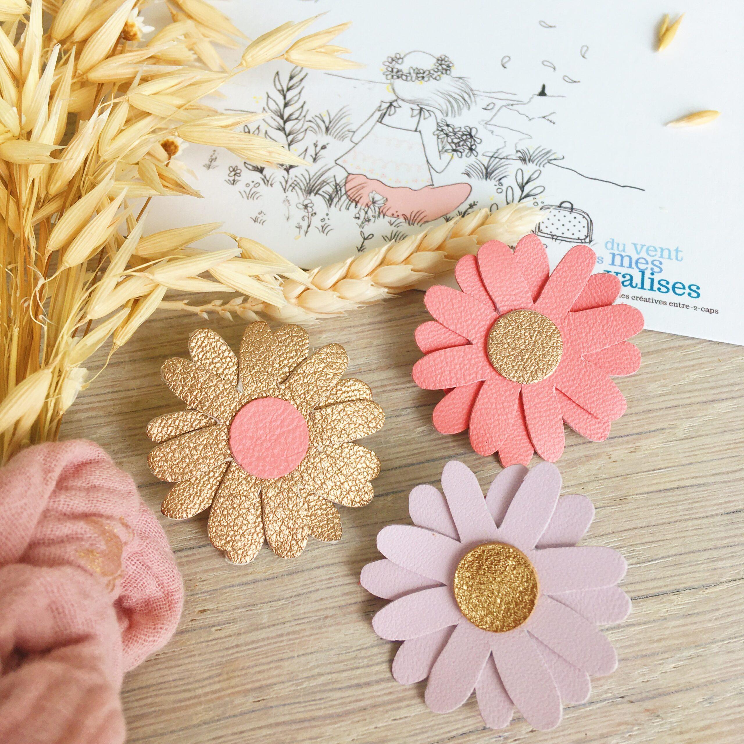 broches fleuries bohème chic marguerite échinacée en cuir fabrication artisanale française - du vent dans mes valises