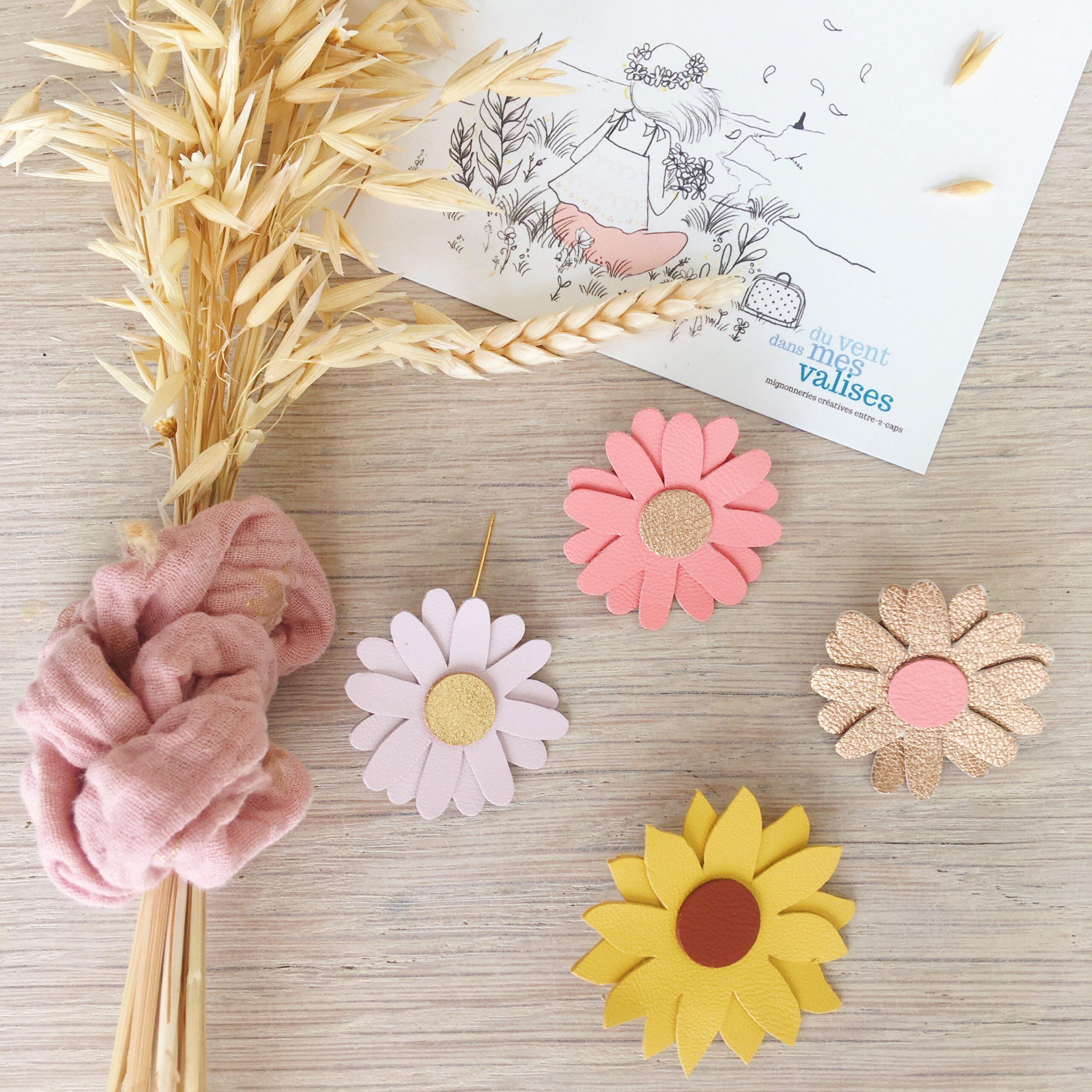 broches florales bohème chic marguerite échinacée tournesol en cuir fabrication artisanale française - du vent dans mes valises
