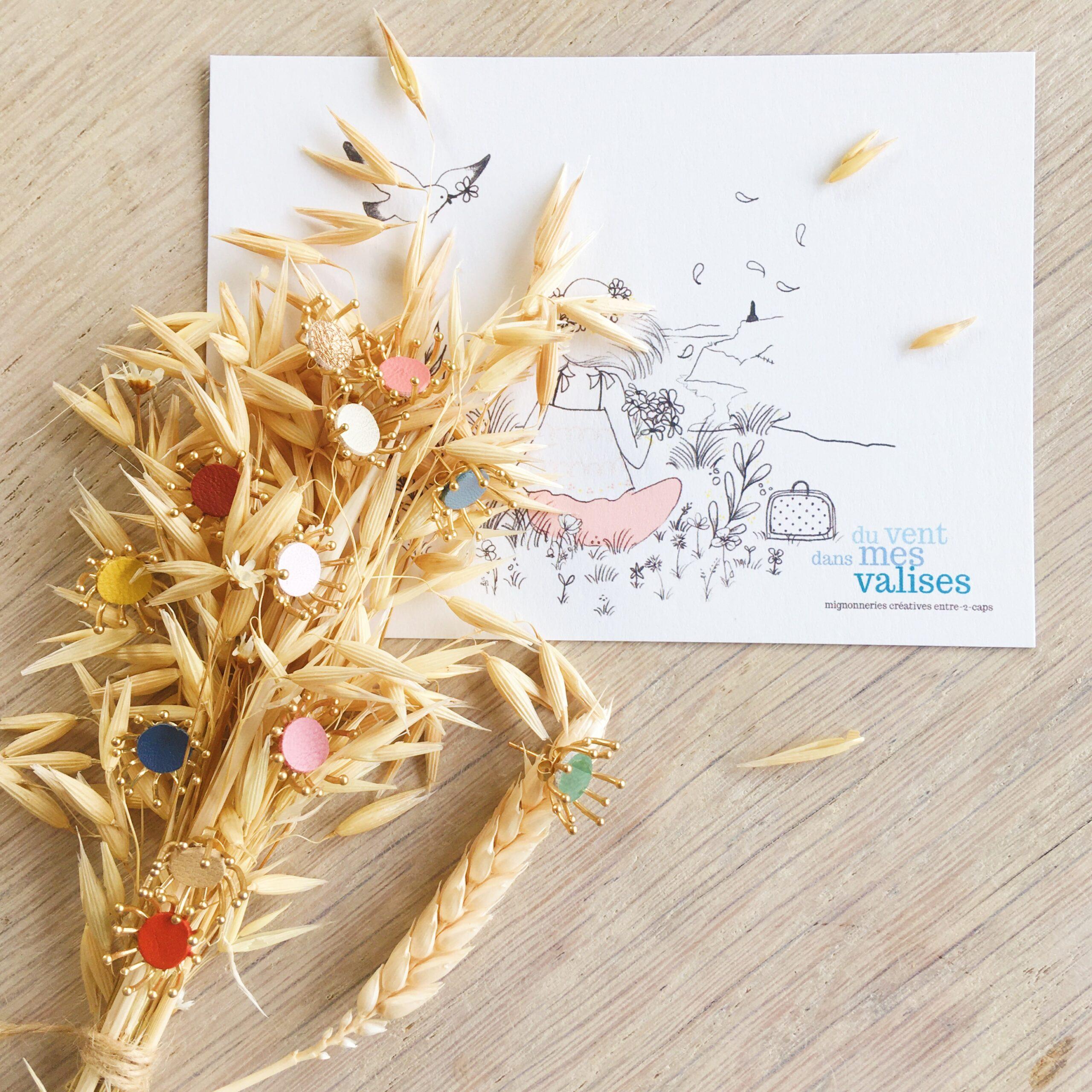 clous bijoux d'oreilles fleuris aigrettes de pissenlit couleurs moissons dorées made in France - du vent dans mes valises