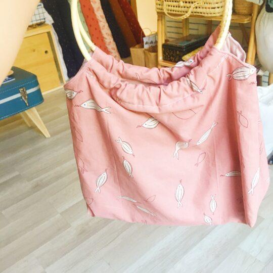 sac paulette poisson vieux rose avec anses rondes cercles de rotin, made in France - du vent dans mes valises