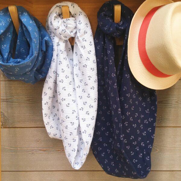 snoods hommes et garçons avec ancres marines bleu et blanc fabriqués en France en double gaze de coton - du vent dans mes valises