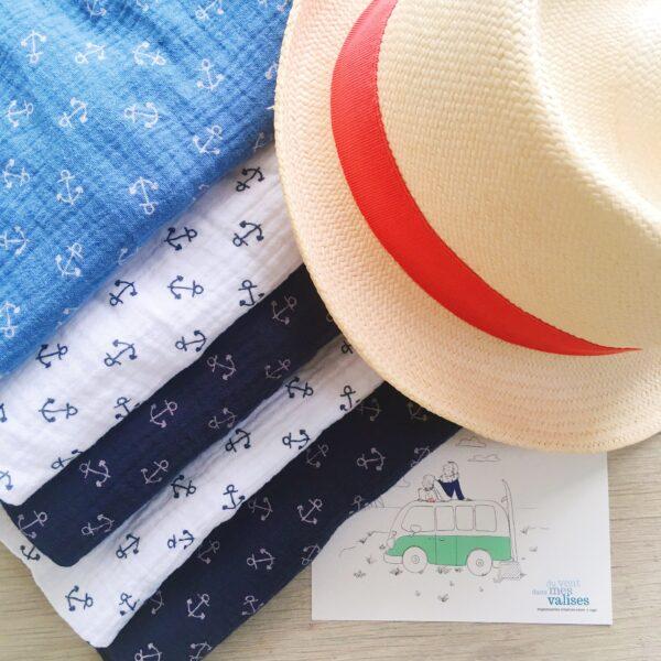 snoods si doux en double gaze de coton, confection artisanale française pour hommes et femmes motifs ancres - du vent dans mes valises