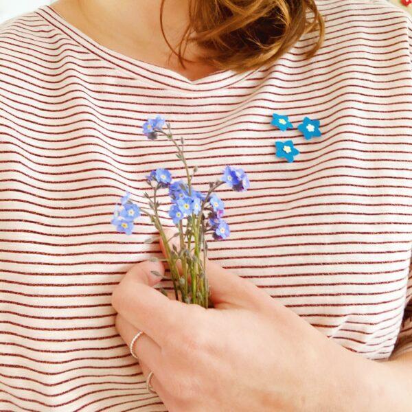 trio de broches florales poétiques, bouquet de myosotis fabraication artisanale française - du vent dans mes valises