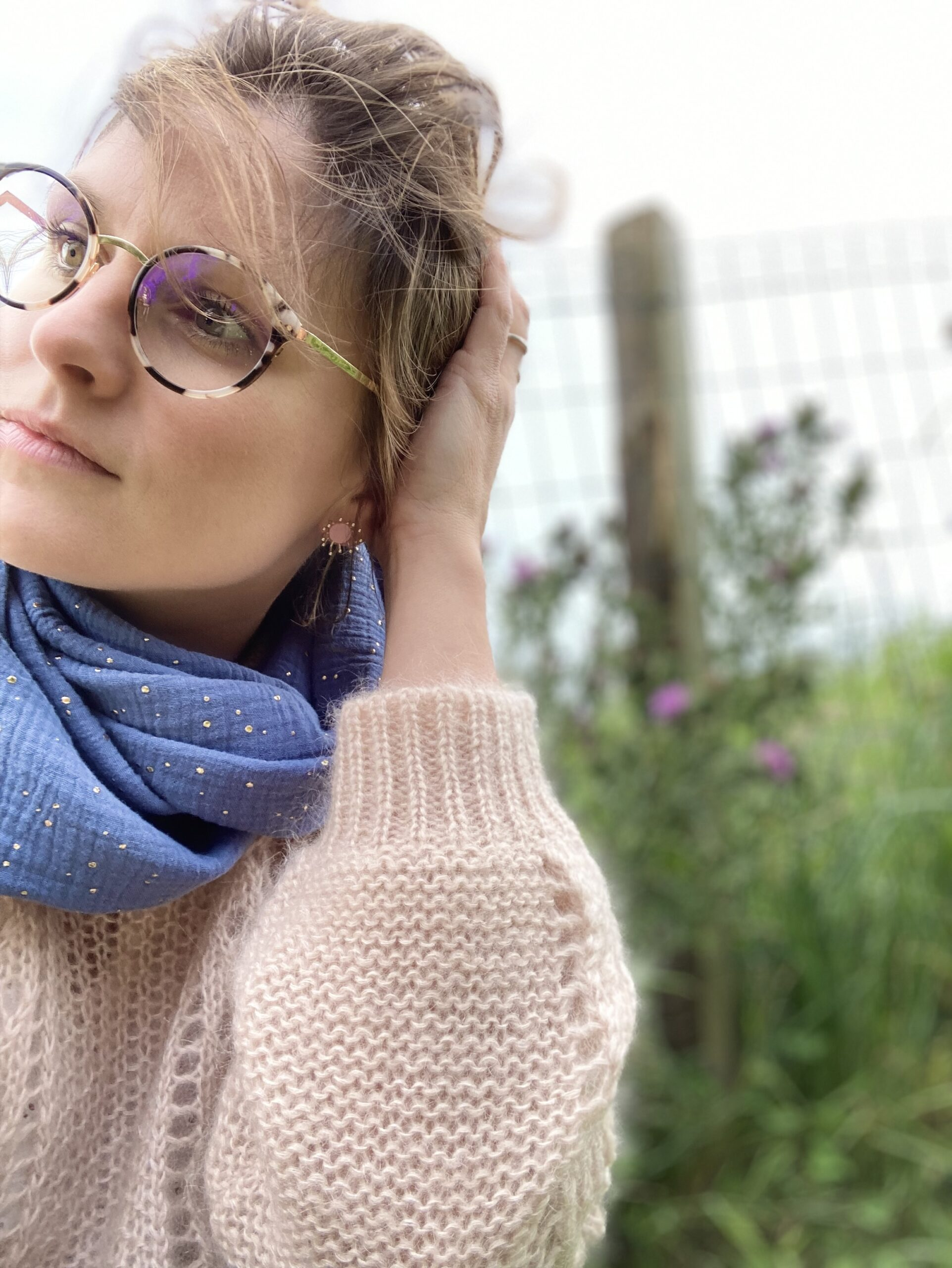 snood bleu pigeon écharpe femme made in france double gaze pois doré - du vent dans mes valises