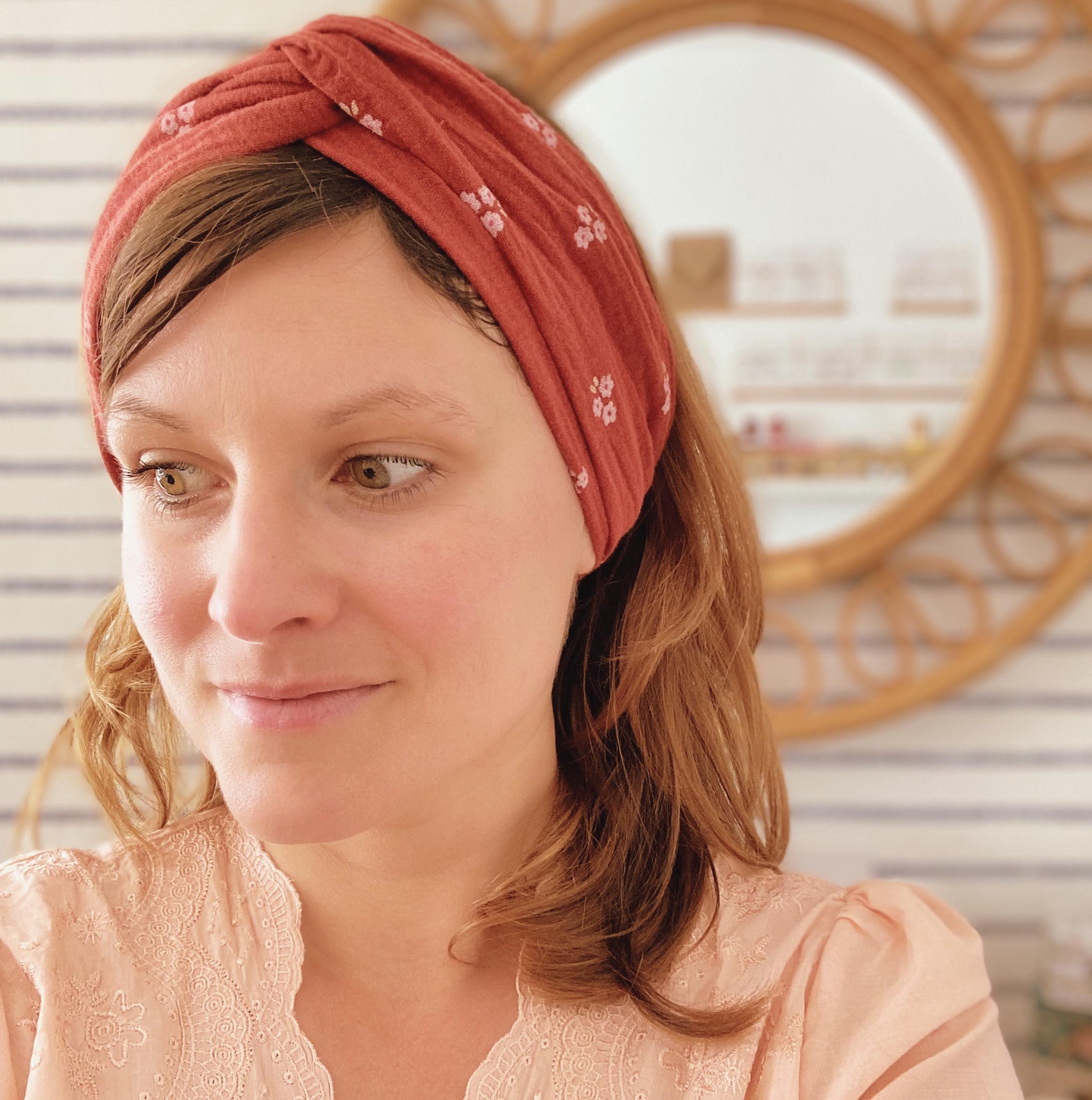 bandeau twisté doux et confortable, adaptable en double gaze de coton fabrication artisanale française - du vent dans mes valises