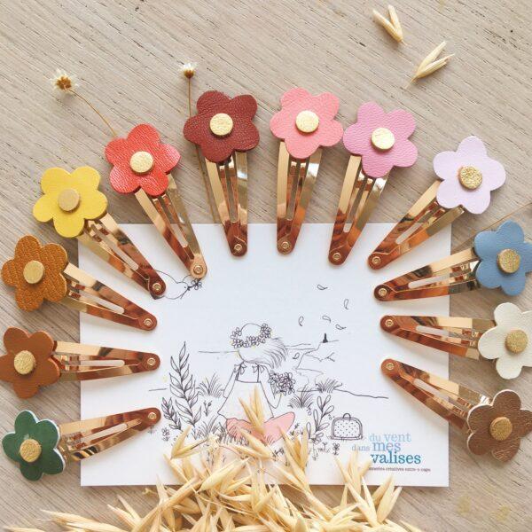 barrettes fleurettes automne hiver fabrication française artisanale en cuir - du vent dans mes valises