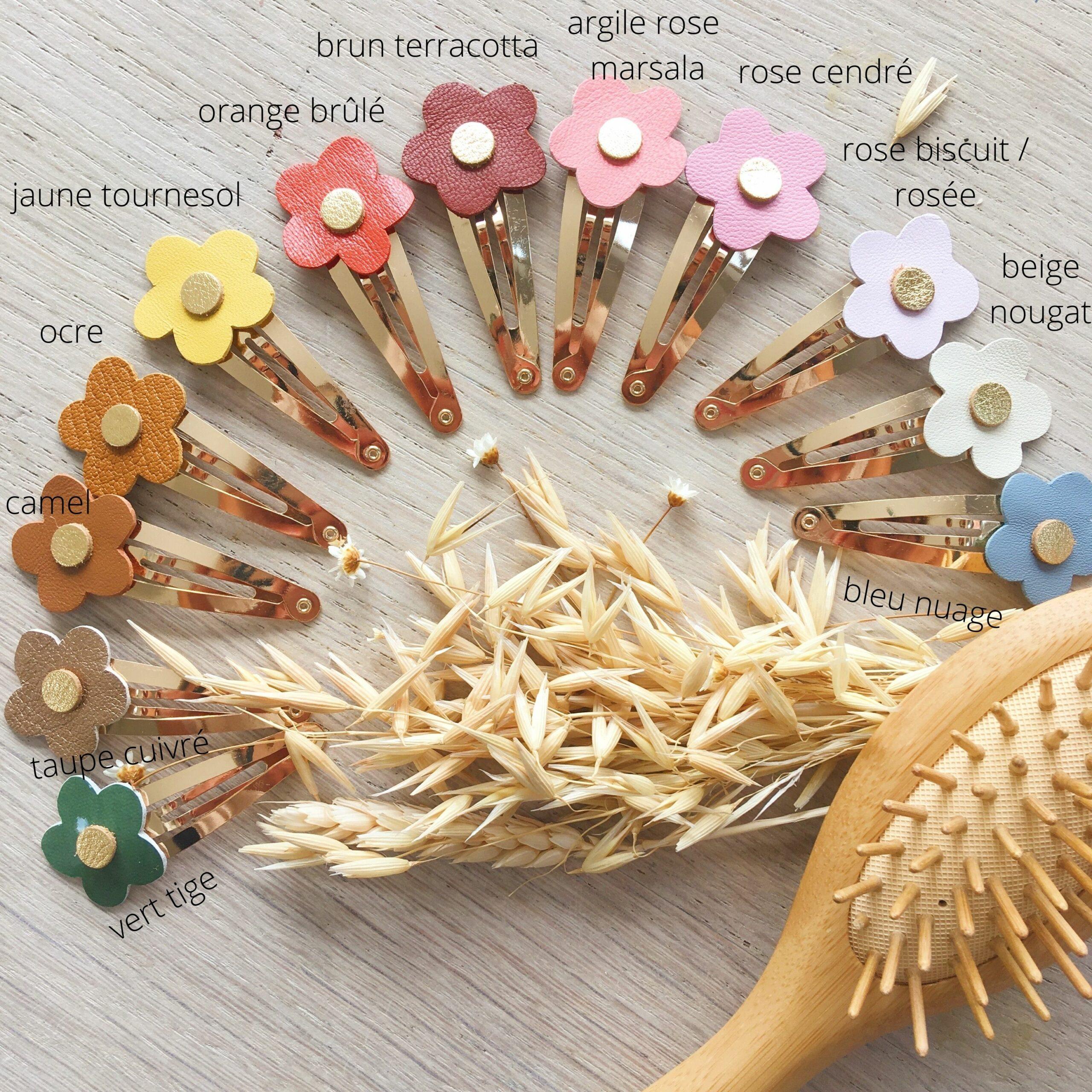 barrettes fleurettes florales fabrication artisanale française en cuir - du vent dans mes valises-2