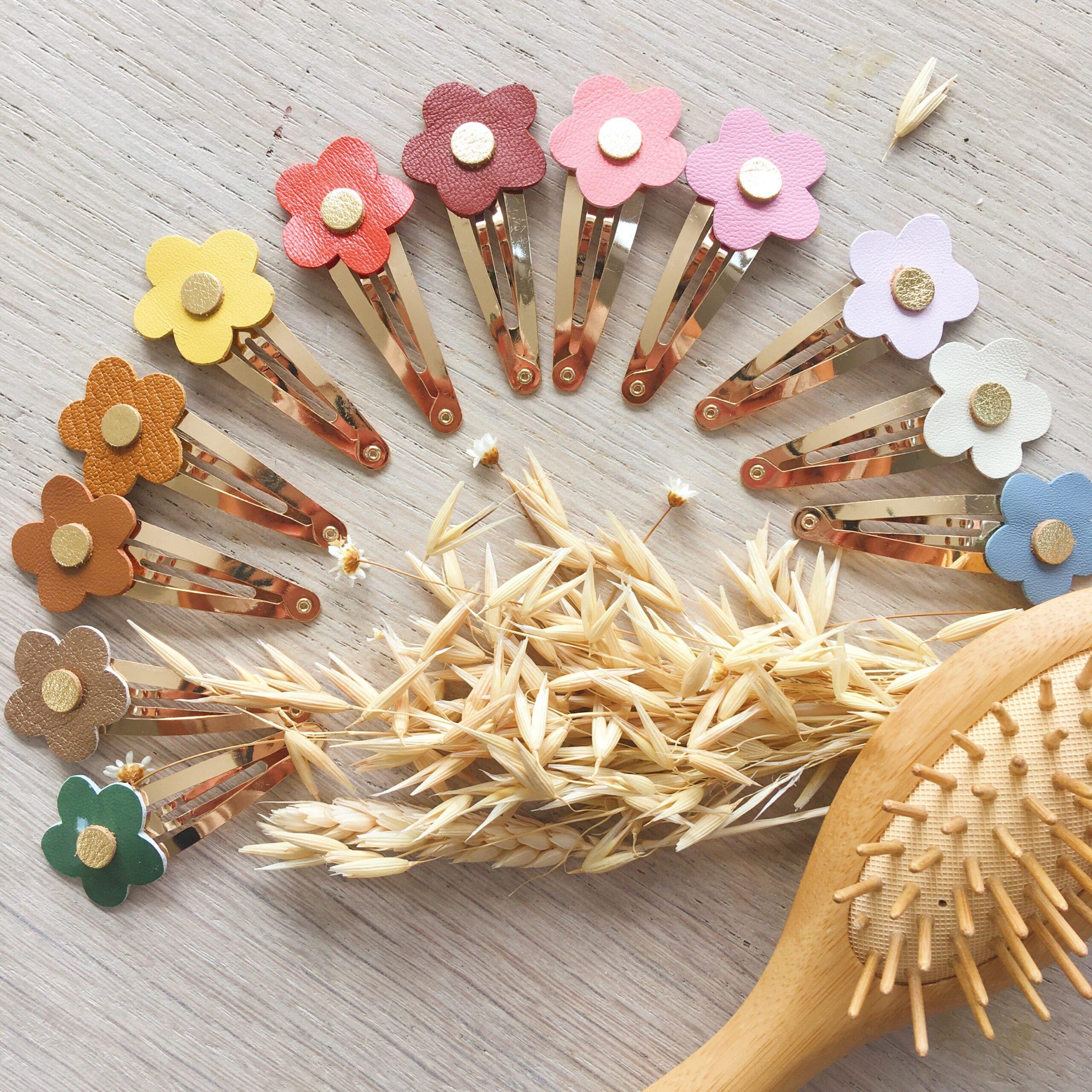 barrettes florales femmes et filles fabriquées en France en cuir - du vent dans mes valises