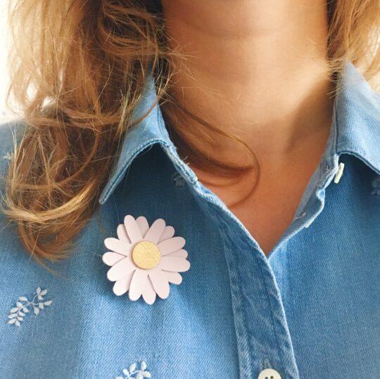 broche fleur marguerite échinacée bijou créateur bohème chic fabrication artisanale française - du vent dans mes valises