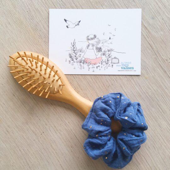 chouchou chic bleu sarcelle pois dorés fabrication artisanale française en double gaze de coton - du vent dans mes valises