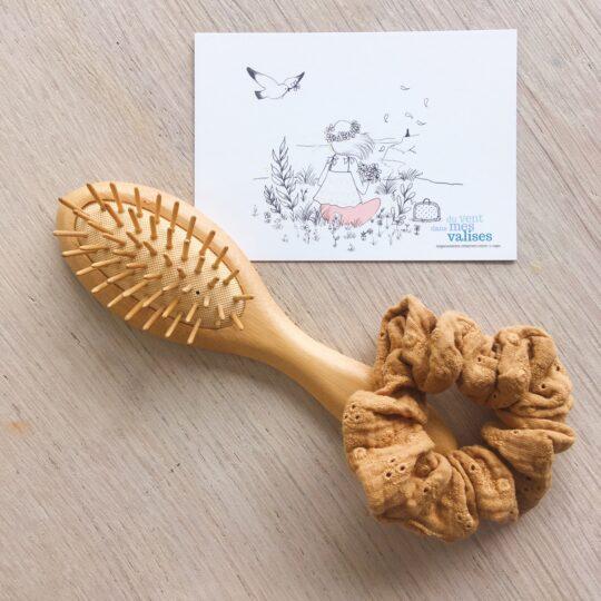 chouchou chic camel broderie anglaise fabrication artisanale française en double gaze de coton - du vent dans mes valises