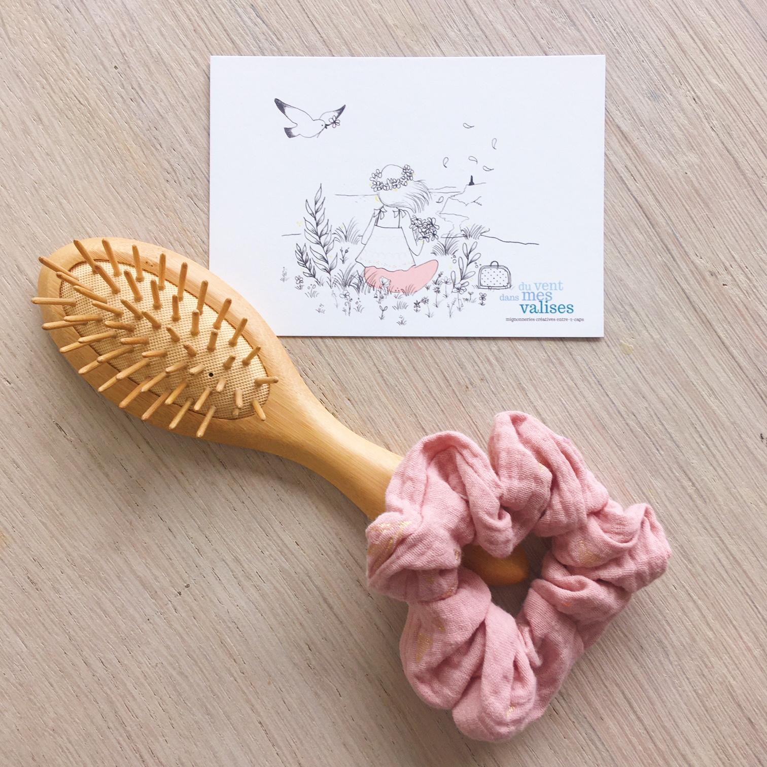 chouchou chic rosée motifs cuivrés discrets fabrication artisanale française en double gaze de coton - du vent dans mes valises