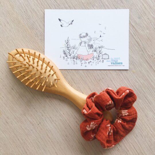 chouchou chic terre cuite marguerites fabrication artisanale française en double gaze de coton - du vent dans mes valises