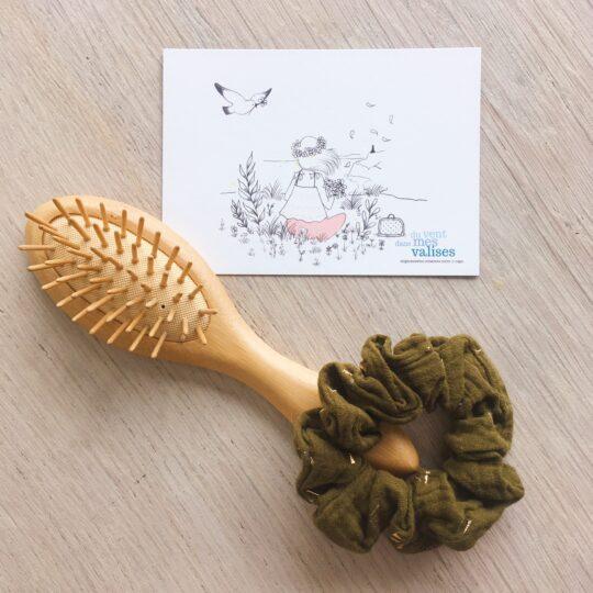 chouchou chic vert kaki éclats dorés fabrication artisanale française en double gaze de coton - du vent dans mes valises