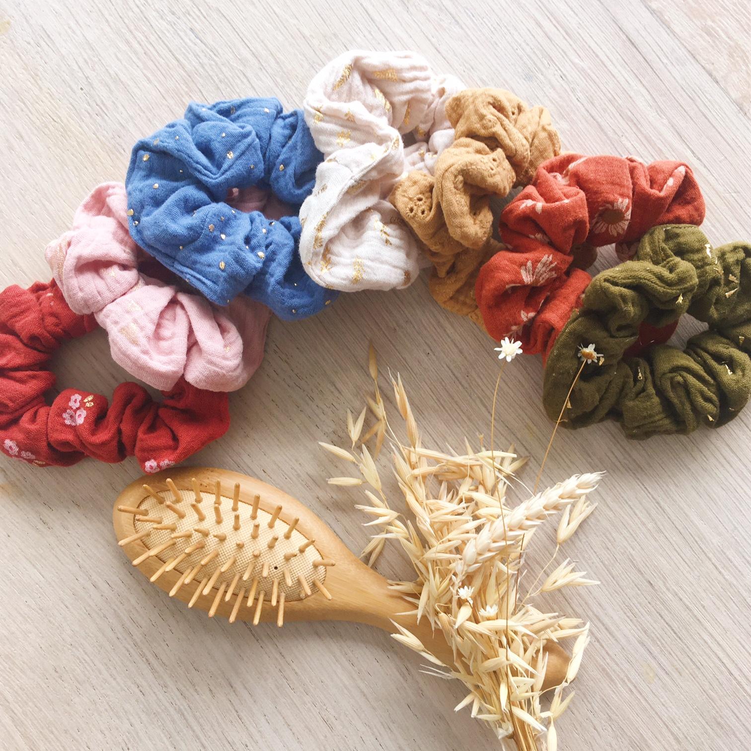 chouchous chics accessoires cheveux femmes fabrication artisanale française en double gaze de coton - du vent dans mes valises