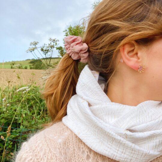 snood femme épis dorés fabriqué en France en double gaze de coton - du vent dans mes valises