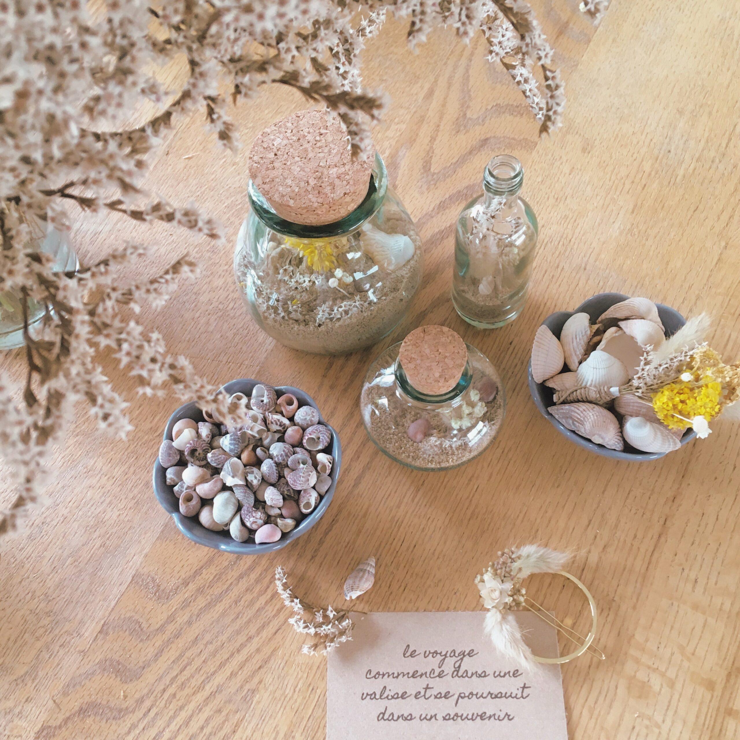 confiture de souvenirs, atelier créatif bocal de coquillages et fleurs séchées par du vent dans mes valises