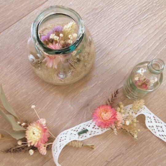 décoration et accessoires en fleurs séchées ateliers créatifs privatisés pour adultes dans le Pas de Calais sur la Cote d'Opale - du vent dans mes valises