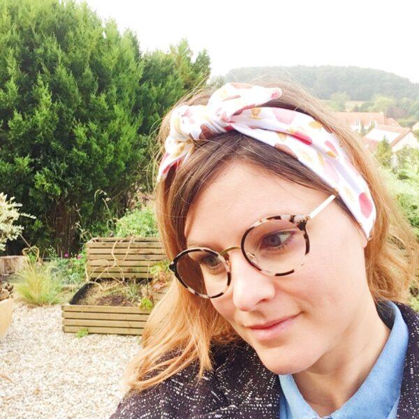 bandeau cheveux femme fille extensible et adaptable noeud réglable motif pomme automne rose bordeaux camel ocre jaune - du vent dans mes valises