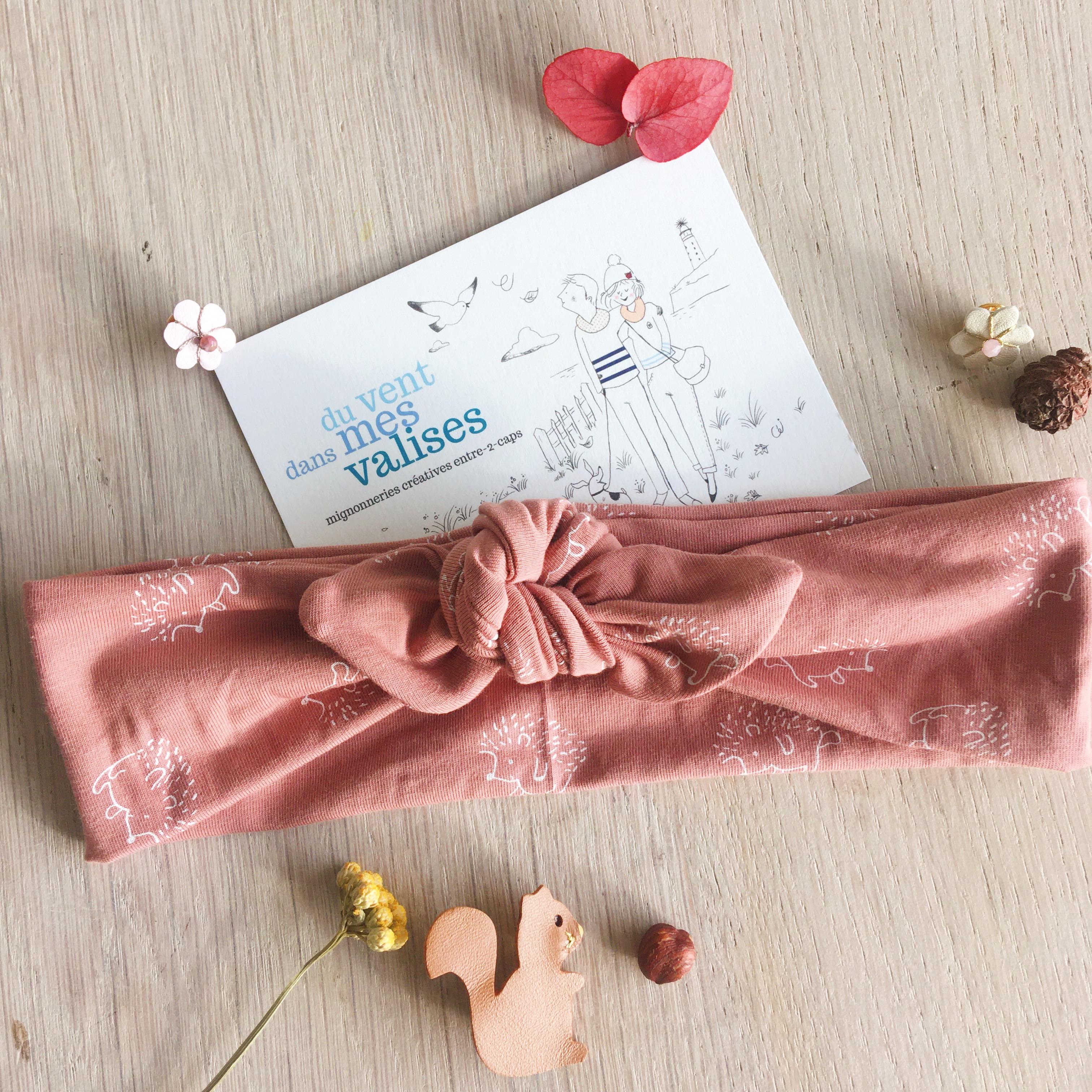 bandeau femme fille extensible réglable en coton doux fabrication artisanale française motif hérisson mignon vieux rose - du vent dans mes valises