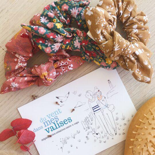 chouchous cheveux pour femmes et filles made in France en coton fleuris façon liberty collection automne - du vent dans mes valises