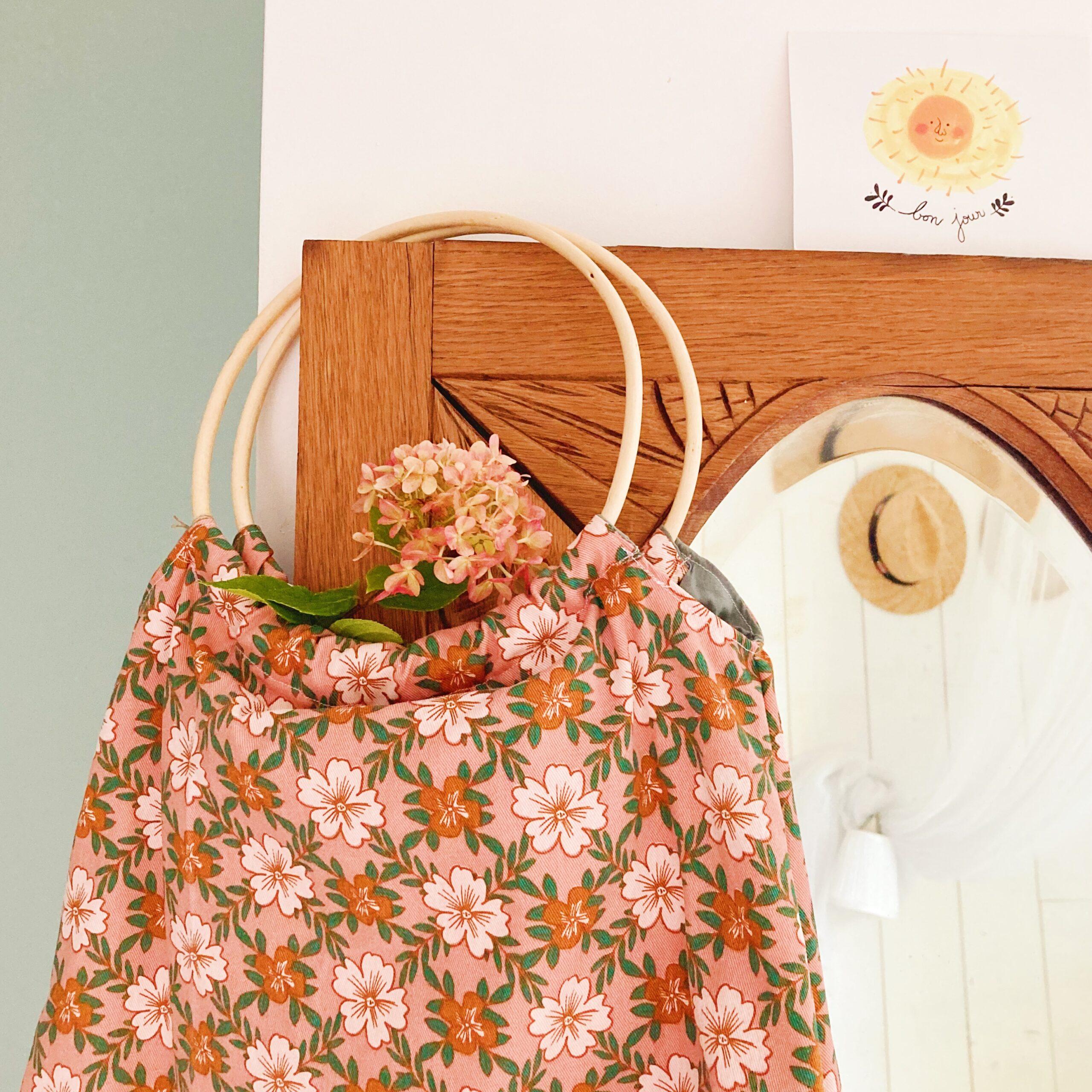 sac Paulette petit modèle fabrication artisanale française en coton floral - du vent dans mes valises