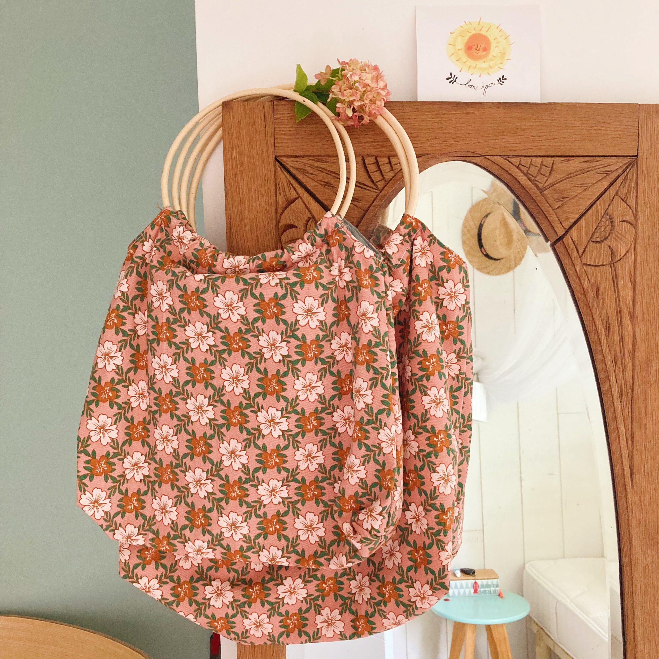 sacs Paulette anses rotin vintage fabrication artisanale française coton fleuri - du vent dans mes valises