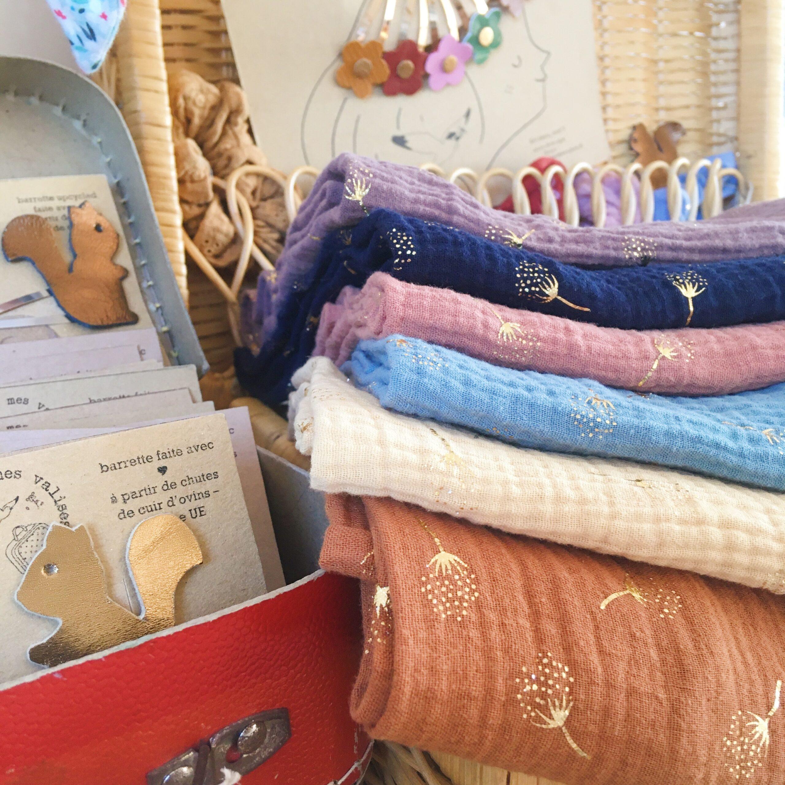 accessoires femme automne hiver confection artisanale française en cuir et double gaze de coton - du vent dans mes valises