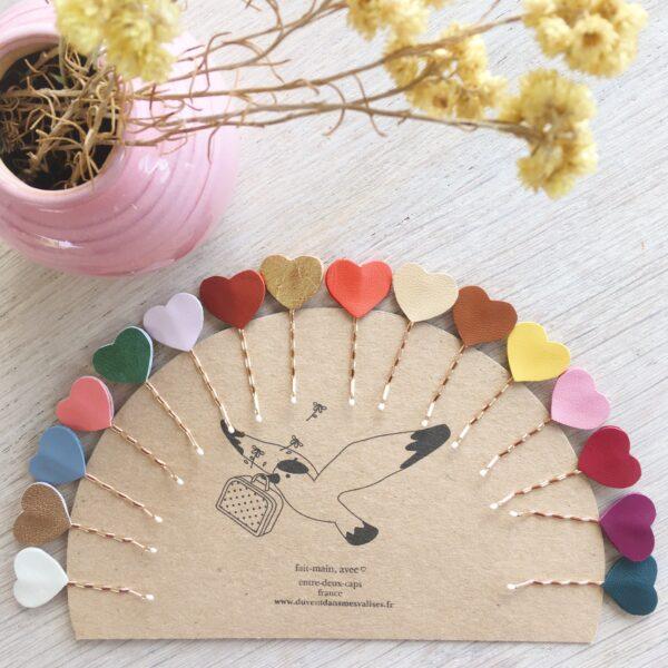 barrettes à cheveux accessoire de coiffure femme et fille made in France avec coeur en cuir confection artisanale coloris automne hiver - du vent dans mes valises