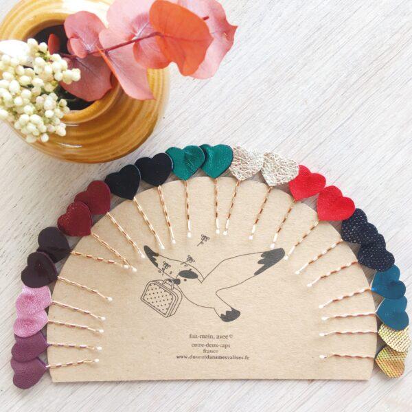 barrettes cheveux fillette ou femme collection accessoires en cuir pour les fêtes made in France avec coeur support pince plate guiche or et ivoire - du vent dans mes valises