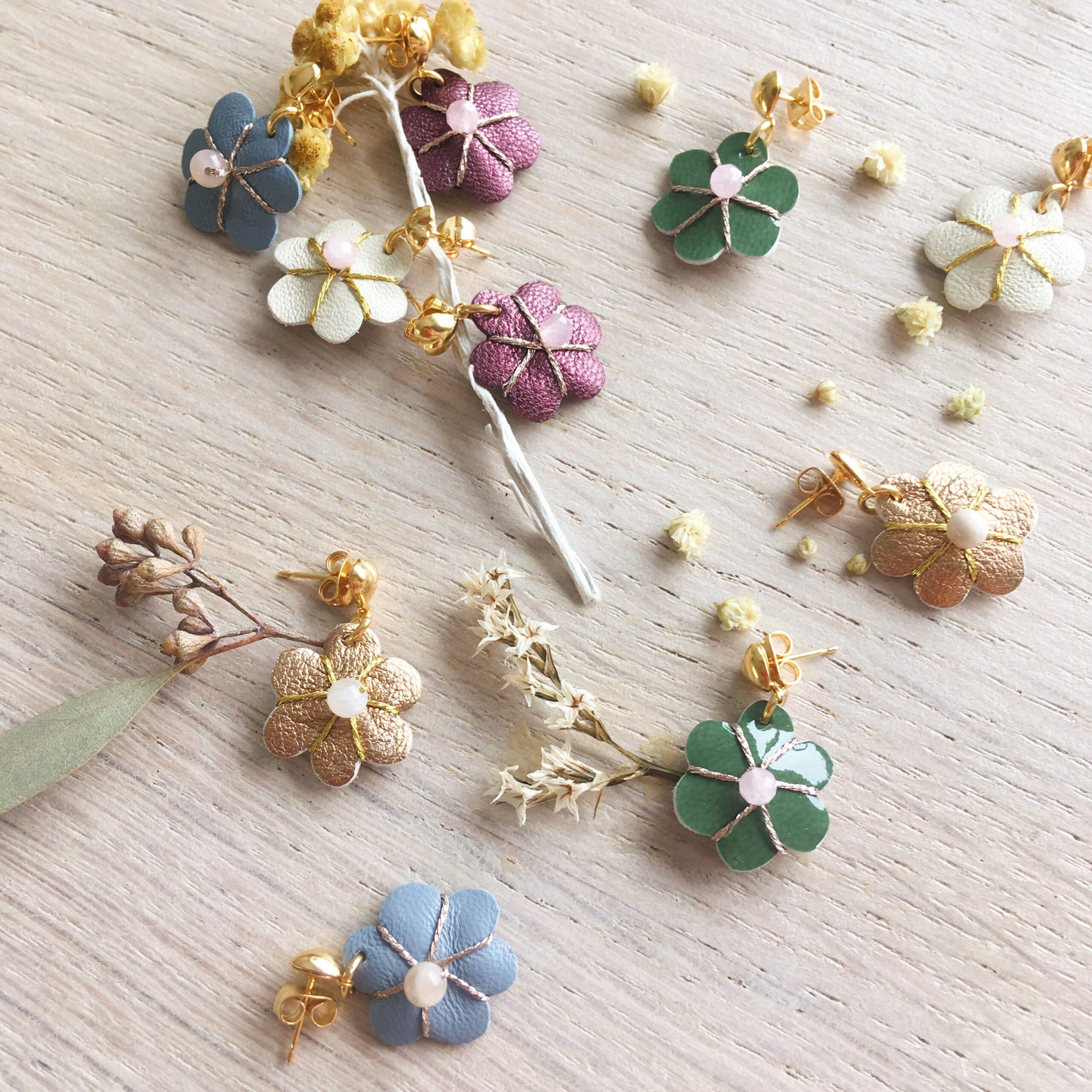 bijoux d'oreilles fleur en cuir bohème chic bijou créateur made in France - du vent dans mes valises